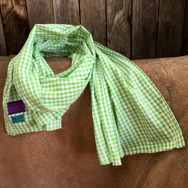 GREEN COTTON GINGHAM SCARF