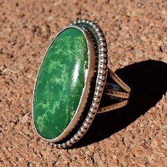1920s BIG OVAL GREEN TURQUOISE PINKY RING