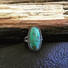 1930s LIGHT BLUE TURQUOISE VINTAGE SILVER RING
