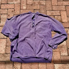 1920s SOLD SUNFADED FRENCH PURPLE STRIPED BANDED COLLAR PATCHED UP SHIRT