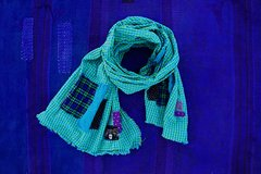 PATCHWORK BORO GREEN AND BLUE GINGHAM SEERSUCKER SCARF