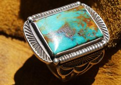 SOLD 1930's HUGE LEO GREYBOOTS TURQUOISE & SILVER RING