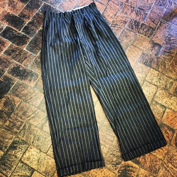 SOFT 1920s FRENCH STRIPED BUCKLEBACK FINE WORKWEAR PANTS