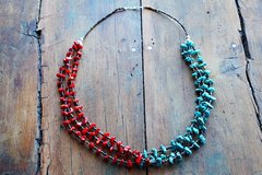 AMERICAN MULTI STRAND TURQUOISE, CORAL, AND SHELL NECKLACE