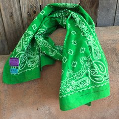 EMERALD GREEN BANDANNA SCARF 100% COTTON & SUN FADED ON ONE SIDE