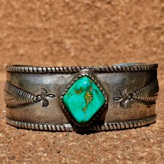 1900s SOLD LYNN TRUSDELL'S COLLECTION INGOT SILVER CHISELED REPOUSSE TURQUOISE CUFF PUBLISHED IN AT LEAST 5 BOOKS