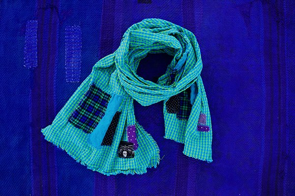 SOLD PATCHWORK BORO GREEN AND BLUE GINGHAM SEERSUCKER SCARF