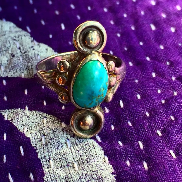 1930s SOLD SMALL BUTTONS LIGHT BLUE TURQUOISE SILVER RING