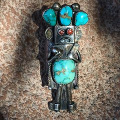 1960s EXTRA LONG SILVER CORAL & TURQUOISE KACHINA KATAINA CORN MAIDEN RING