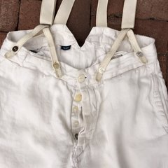 VINTAGE RALPH LAUREN 100% LINEN IVORY BACKBUCKLE SUSPENDERS BORO SHASHIKO PANTS WITH 100 YEAR OLD BUTTONS #1