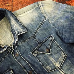 JAPANESE 1970s VINTAGE REPRODUCTION FADED DISTRESSED DENIM WESTERN WORKWEAR SHIRT