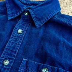 INDIGO OVERDYED ITALIAN SLIM FIT LINEN & COTTON WORKWEAR SHORT SLEEVED SHIRT