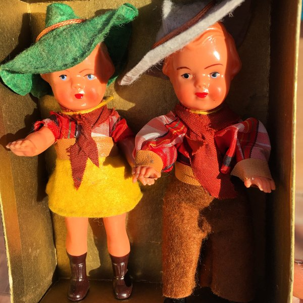 1930s COWBOY & COWGIRL DIME STORE DOLLS in ORIGINAL BOX READY FOR FRAMING