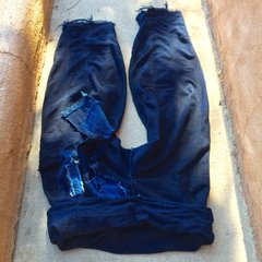 1900s SOLD ANTIQUE HANDSPUN, HANDWOVEN HANDSEWN INDIGO COTTON TEXTILE HANDSEWN INTO THAI FISHERMAN PANTS