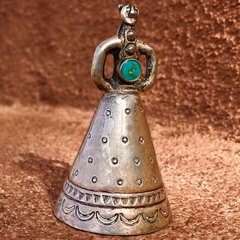 1940s STAMPED INGOT SILVER TURQUOISE MOTHER IN LAW BELL PENDANT