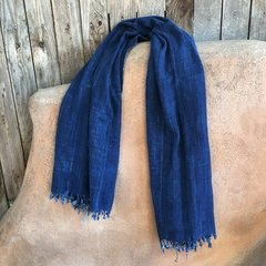 SOLD FRINGED ANTIQUE DARK INDIGO LONG SHAWL #10