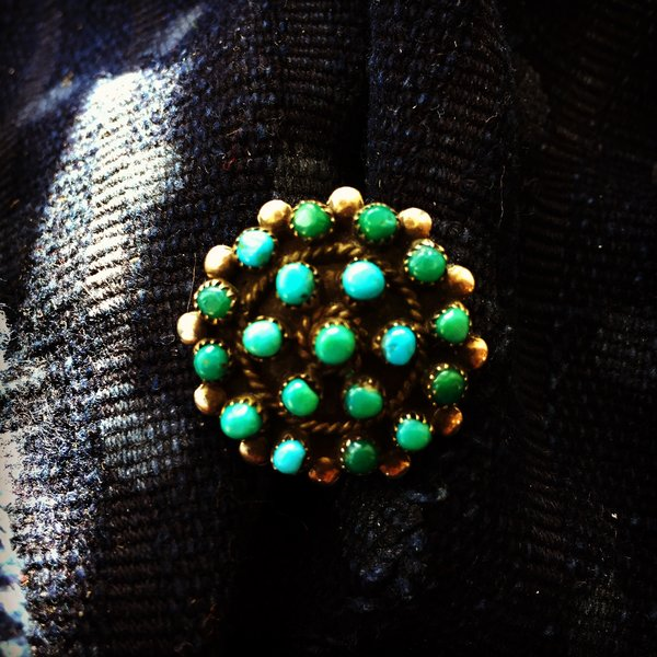 1940s SOLD PETITE POINT BLUE GREEN AMERICAN TURQUOISE SILVER RING