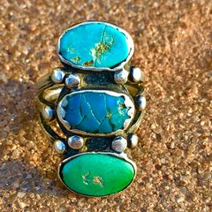 1910s LONG INGOT SILVER 3 TURQUOISE COLORS RING