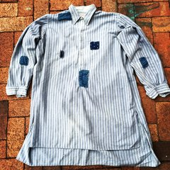 FRENCH WORKWEAR STRIPED INDIGO BORO PATCHED 1910s GRANDAD SHIRT