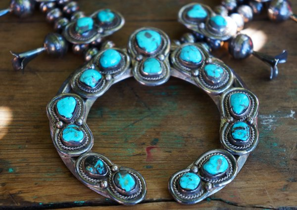 1970's TURQUOISE & SILVER DOUBLE MOON SQUASH BLOSSOM NECKLACE