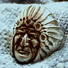 1920s HUGE SILVER REPOUSSE INDIAN CHIEF HEAD EARLY BIKER RING