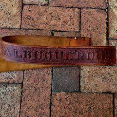 SOLD 1970s WIDE THICK TOOLED LEATHER ALBUQUERQUE ZIA ROADRUNNER THUNDERBIRD BELT