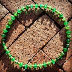1880s AMERICAN GREEN VASELINE GLASS TRADE BEADS WITH AFRICAN RECYCLED GLASS 1900s TRADE BEADS