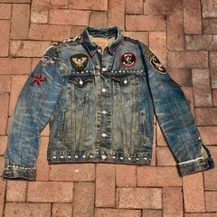 LEVIS AGED BIKER LEOPARD PUNK ROCK STUDDED PATCHED PEARLED DENIM JACKET MEDIUM