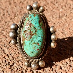 SOLD 1910s LIGHT TURQUOISE WROUGHT HAND DRAWN WIRE BAND