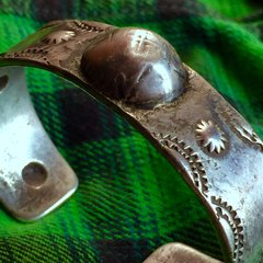 SOLD 1890s HEAVY SILVER REPOUSSE IMGOT STAMPED CUFF AMERICAN BRACELET
