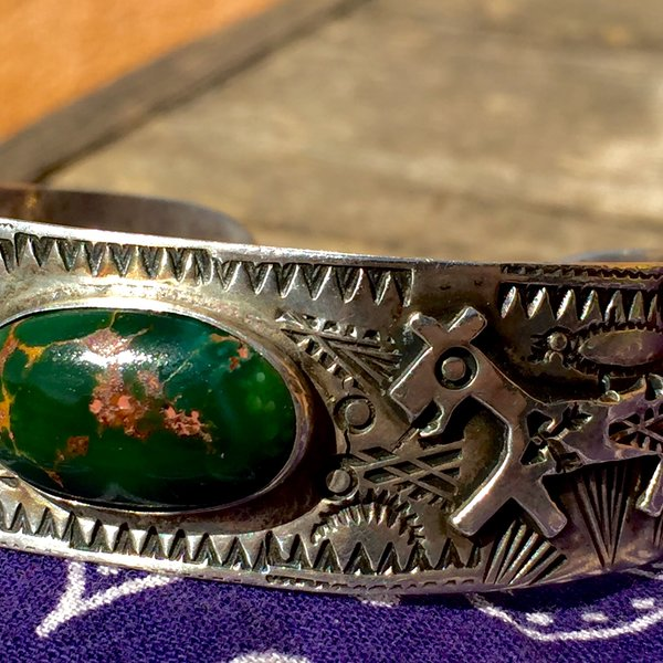 1940s SOLD FINE HEAVILY STAMPED TEEPEES LAUGHING HORSES ROYSTON TURQUOISE SILVER FRED HARVEY CUFF