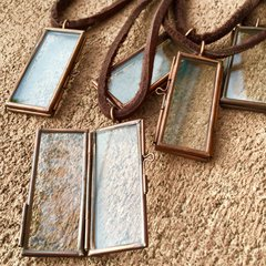 COPPER CREST GLASS & METAL PENDANT KEEPSAKE LOCKET on AMERICAN DEERSKIN