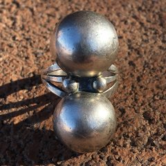 1950s FRED HARVEY ERA BIG SILVER BALL RING