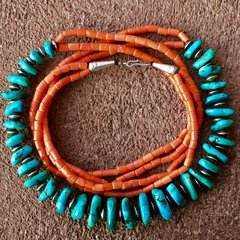 1920s SOLD LIKELY BLUE GEM TURQUOISE TABS, SILVER BENCH BEADS, & CORAL NECKLACE