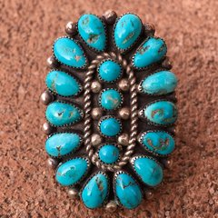 1950s GINORMOUS BRIGHT BLUE TURQUOISE STONE SILVER RING
