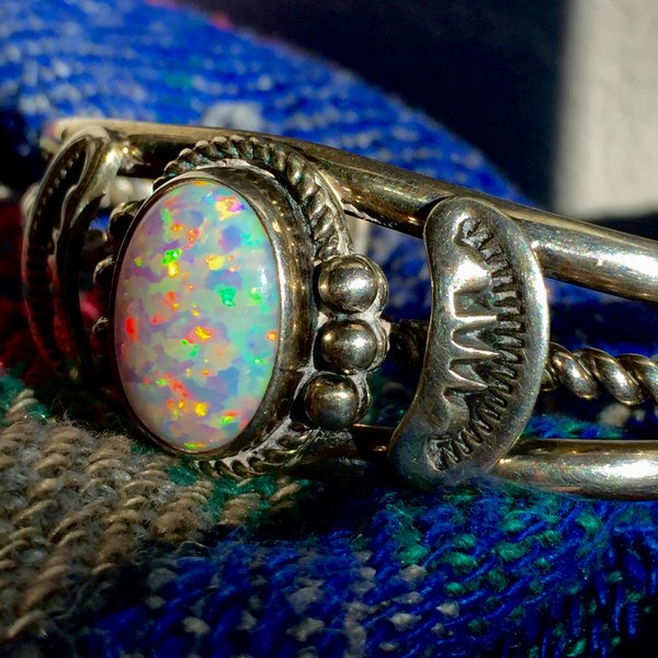 SOLD 1980s SIGNED OPAL SILVER WROUGHT BRACELET