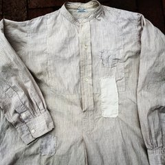 THIN FRENCH 1880s BANDED COLLAR BORO PATCHWORK SOFT GRANDAD SHIRT