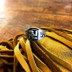 1920s WHIRLING LOGS SWASTIKA SILVER PINKY RING