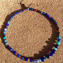1700s - 1800s MOSTLY COBALT (RUSSIAN BLUES) AMERICAN GLASS TRADE BEADS