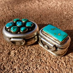 1960s SILVER TURQUOISE PILL BOX SET