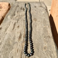 "50"" of GENUINE HEAVY 14mm BLACK PEARLS on KNOTTED SILK"