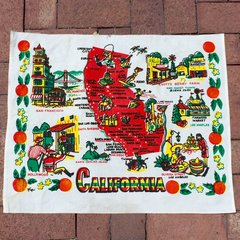 VINTAGE 1930s CALIFORNIA MAP FABRIC POSTER