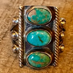 1920s STOPLIGHT OVAL BLUENANS GREEN TURQUOISE ROPE SILVER RING