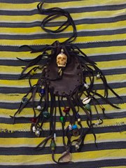 SKULL & CROSS BEADS FRINGED LEATHER PIRATE'S BOOTY POUCH
