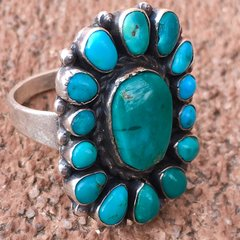 1920s BLUE GREEN TURQUOISE 15 STONE INGOT SILVER RING
