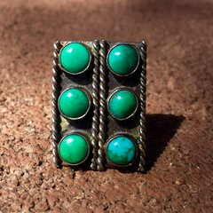 1920s 6 TURQUOISE STONES SILVER FRED HARVEY ERA RING