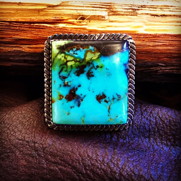 SOLD 1980s BLUE GREEN GIANT TURQUOISE RING