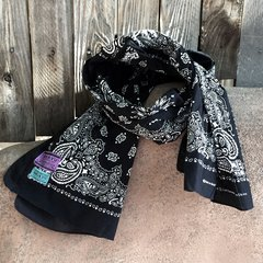 BLACK BANDANNA SCARF 100% COTTON & SUN FADED ON ONE SIDE