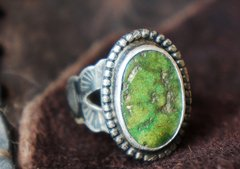SOLD EARLY 1930's ROYSTON TURQUOISE STAMPED SILVER RING