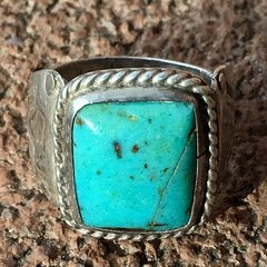 1930s LIGHT BLUE SQUARE TURQUOISE INGOT SILVER STAMPED SIDE SHIELDS MENS PINK RING